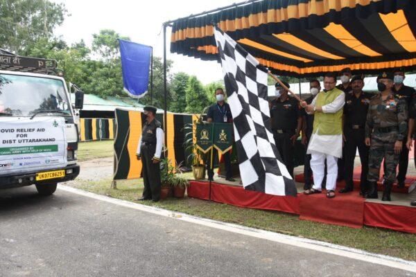 मुख्यमंत्री ने किया, 127 बटालियन, गढ़वाल राइफल्स द्वारा दी गई कोविड राहत सामग्री का फ्लैग ऑफः सेना का जताया आभार
